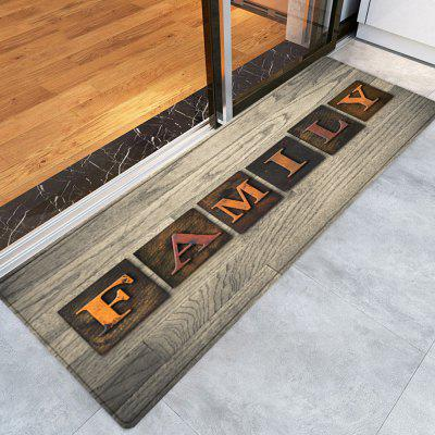 Wood Grain Family Word Pattern Indoor Outdoor Area Rug