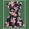 Wrap Floral Tied Mini Dress - BLEU FONCé