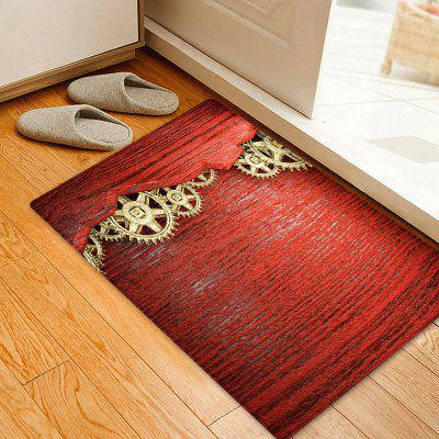 Wheel Gear Wood Grain Pattern Indoor Outdoor Area Rug