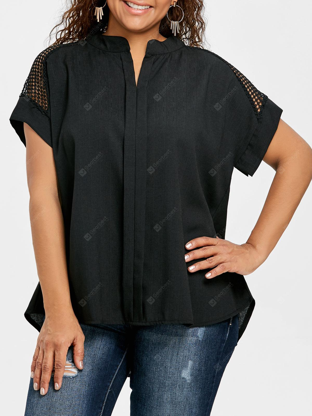 Plus Size V Neck Crochet Blouse