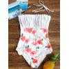 Ruched Floral Backless One Piece Swimsuit - WHITE