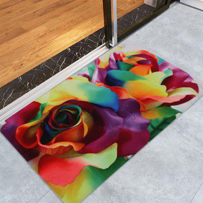 Valentine Painting Style Colorful Roses Printed Velvet Area Rug