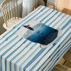 Cup Striped Print Dining Table Cloth - LIGHT BLUE