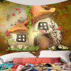 Tale World Mushroom House Wall Art Tapestry - COLORFUL