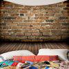 Brick Wall Wood Pattern Fabric Wall Hanging Tapestry - BROWN