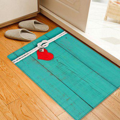 Lock Heart Woodgrain Pattern Anti-skid Water Absorption Area Rug