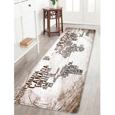 Vintage World Map in English Pattern Area Rug