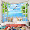 3D Window Wooden Bridge Seascape Tapestry Wall Decor - BLUE