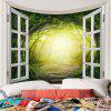 Dreamy Forest Printed Polyester Waterproof Wall Hanging Tapestry - GREEN