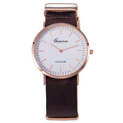 Faux Leather Band Simple Watch