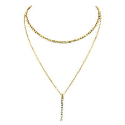Rhinestone Alloy Bar Layered Pendant Necklace