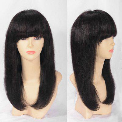 Long Full Bang Indian Remy Human Hair Lace Front Wig