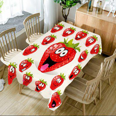 Strawberry Emoji Print Table Cloth