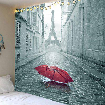 Literary Paris Tower and Umbrella Printed Wall Art Tapestry
