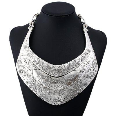 Flower Peacock Printed Layered Metal Necklace