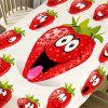 Strawberry Emoji Print Table Cloth - RED