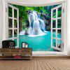 Window Outside Forest Waterfall Printed Wall Tapestry - BLUE