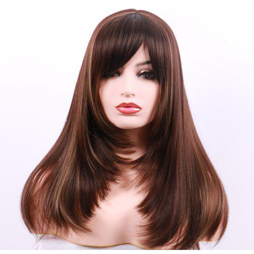 Long Side Bang Layered Colormix Straight Party Synthetic Wig