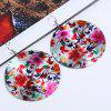 Chinese Flower Print Round Fabric Drop Earrings - COLORMIX