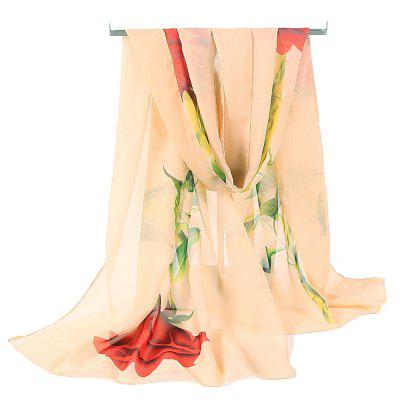 Romantic Rose Pattern Embellished Chiffon Scarf