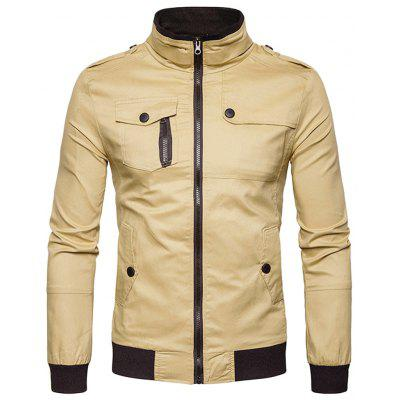 Epaulet Design Bolsillos Zip Up Cargo Jacket