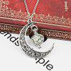Vintage Engraved Heart Moon Pendant Necklace - SILVER
