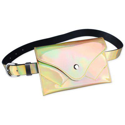Fanny Pack Embrulhado Faux Patent Leather Skinny Belt