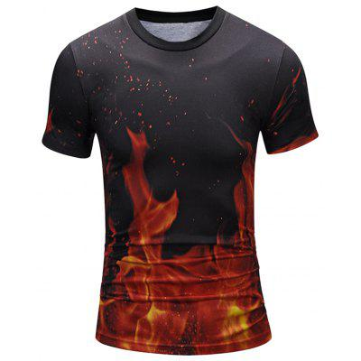 Crew Neck Flame Print Cool Tee