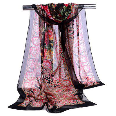 Vintage Blossoming Floral Pattern Silky Chiffon Scarf