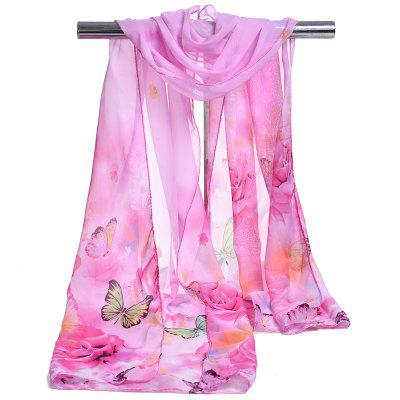 Vintage Flying Butterfly Pattern Two Tone Silky Chiffon Scarf