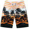 Coconut Printed Stripes Beach Shorts - ORANGE RED