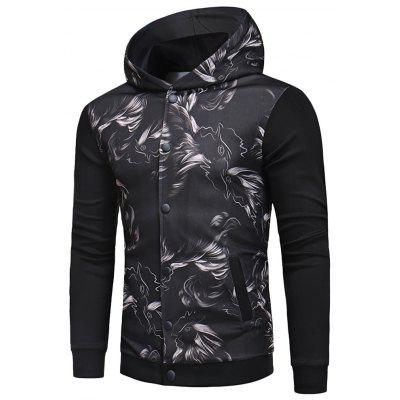 Button Up Printed Hooded Jacket