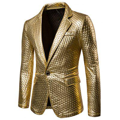 Männliche Mode Metallic Farbe One Button Klappe Pocket Club Blazer Design Jacke Mantel