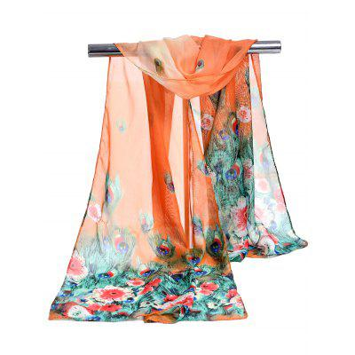 Unique Peacock Feathers Pattern Soft Chiffon Scarf