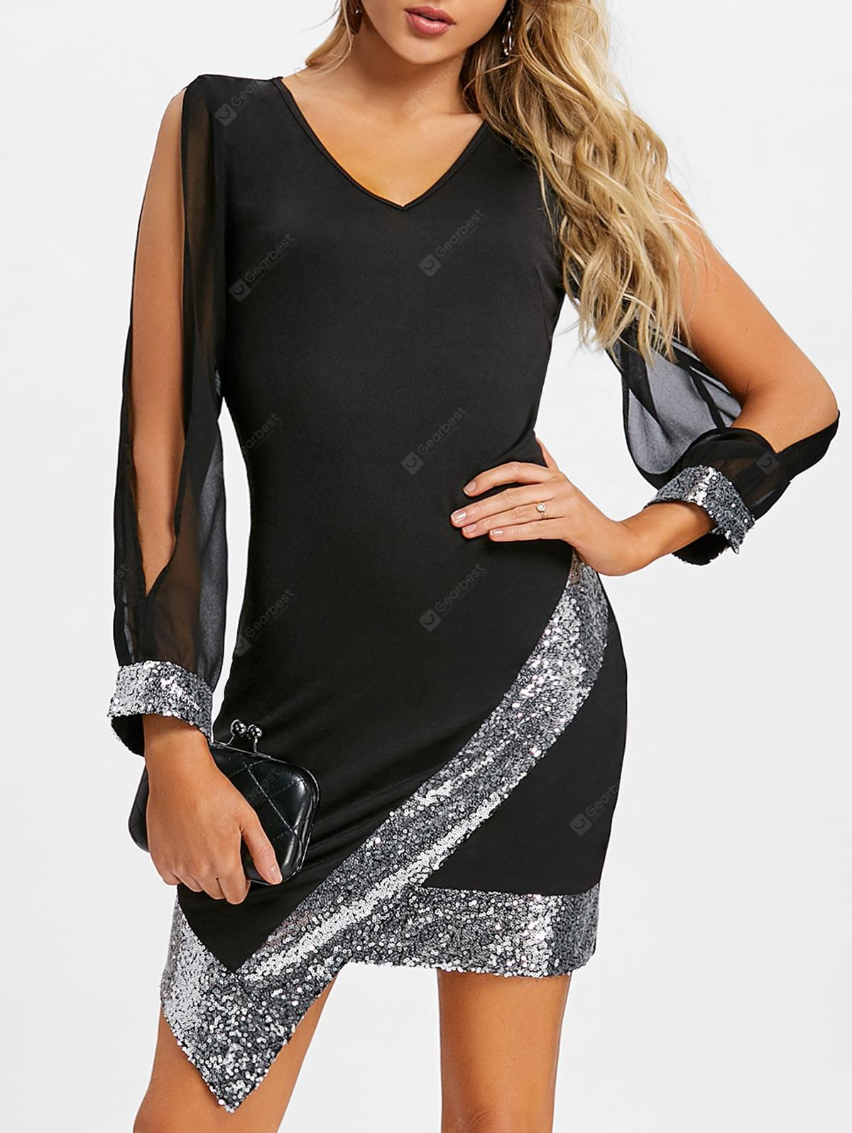 Slit Sleeve Sequined Chiffon Party Dress