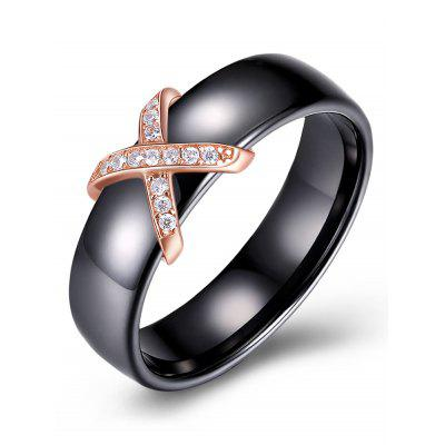 Letter X Shaped Rhinestones Inlaid Ring