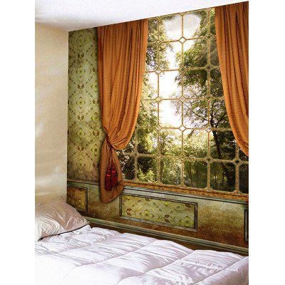 Window with Curtain Trees Print Wall Hanging Tapestry