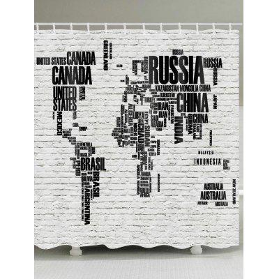 Letters World Map Print Shower Curtain