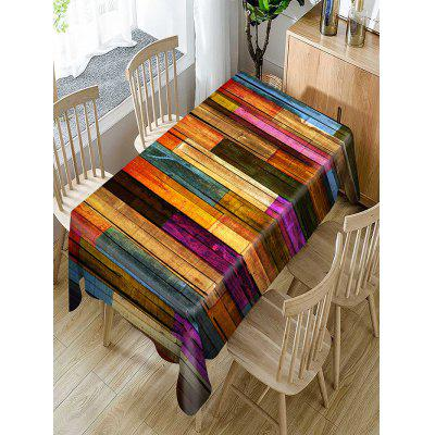 Colorful Wood Grain Print Waterproof Table Cloth