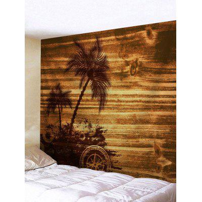 Wall Hanging Decoration Palm Tree Wood Grain Print Tapestry