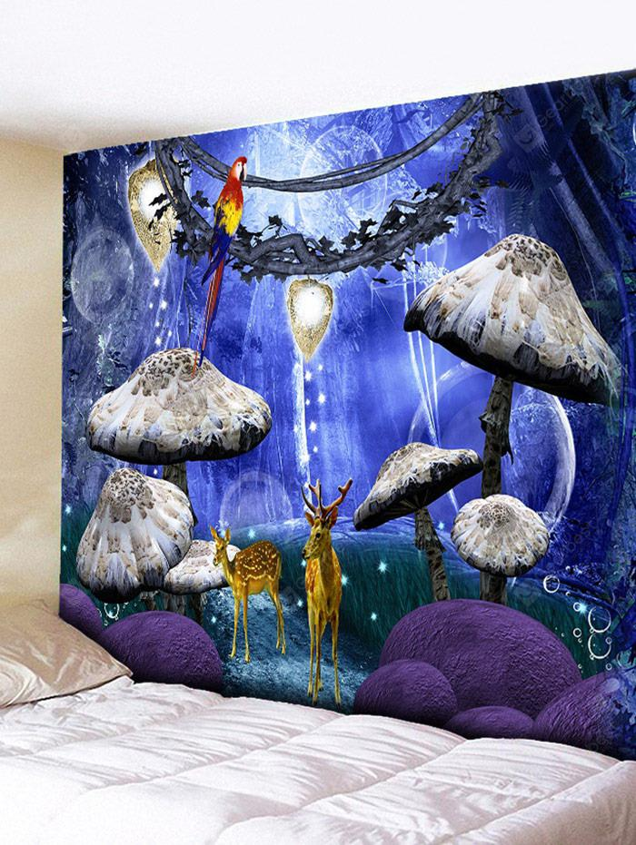 Wall Hanging Decoration Deer Mushroom Forest Print Tapestry