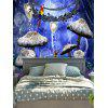 Wall Hanging Decoration Deer Mushroom Forest Print Tapestry - BLUE
