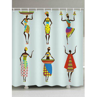 African Woman with Dress Printed Waterproof Fabric Shower Curtain