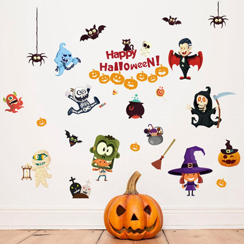 COLORFUL Home Decor Cartoon Halloween Wall Removable Stickers