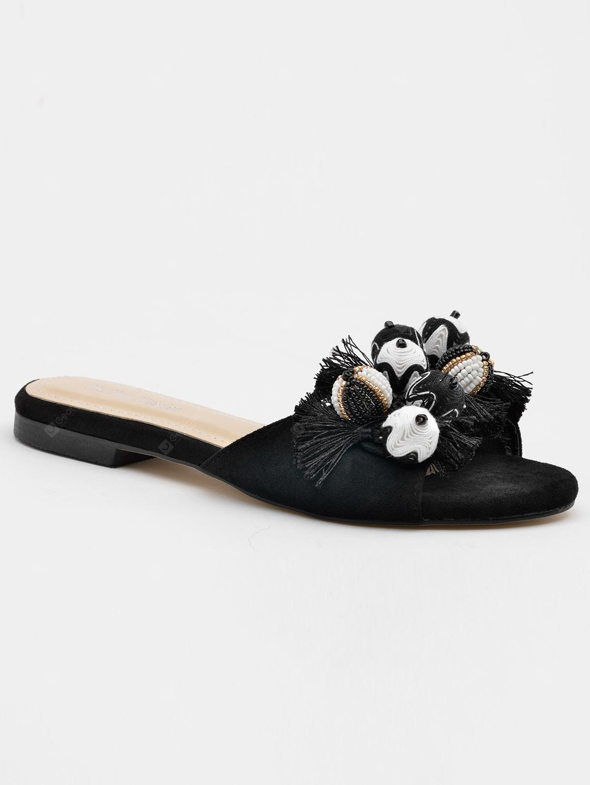 Tassels Pompom Open Toe Mules Shoes