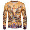 Crew Neck Chinese Style Dragons Print T-shirt - YELLOW