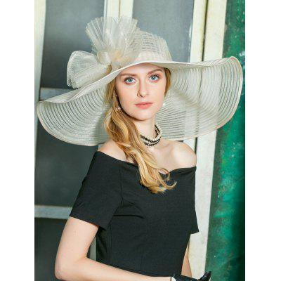 Floral Pattern Embellished Oversized Church Tea Party Hat