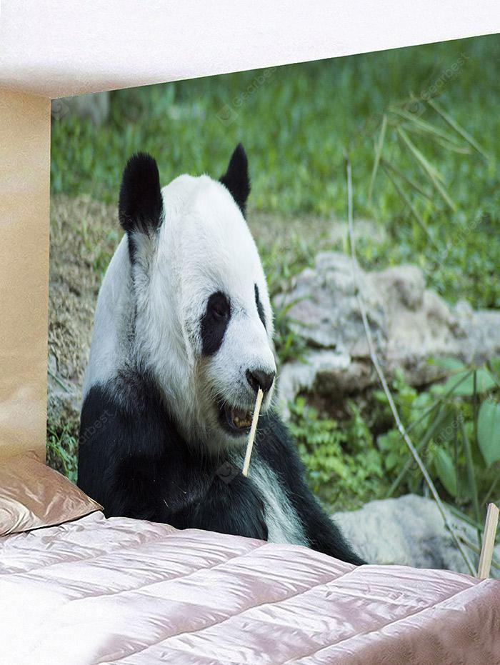 Cute Panda Eating Bamboo Print Tapestry