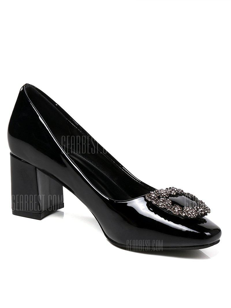 Lanbaoli Bright PU Leather Rhinestone Decorate Pumps