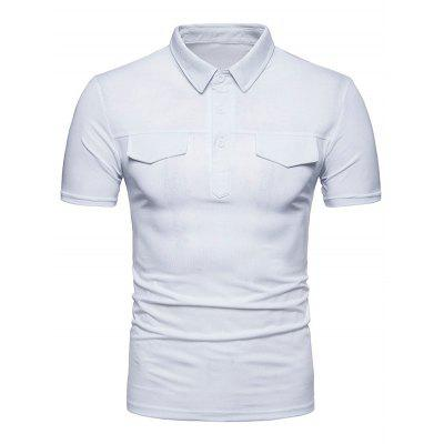 Faux Pocket Solid Color Short Sleeve Polo Shirt